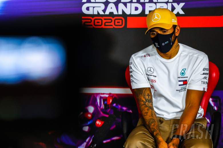 Lewis Hamilton (GBR) Mercedes AMG F1 in the post race FIA Press Conference.