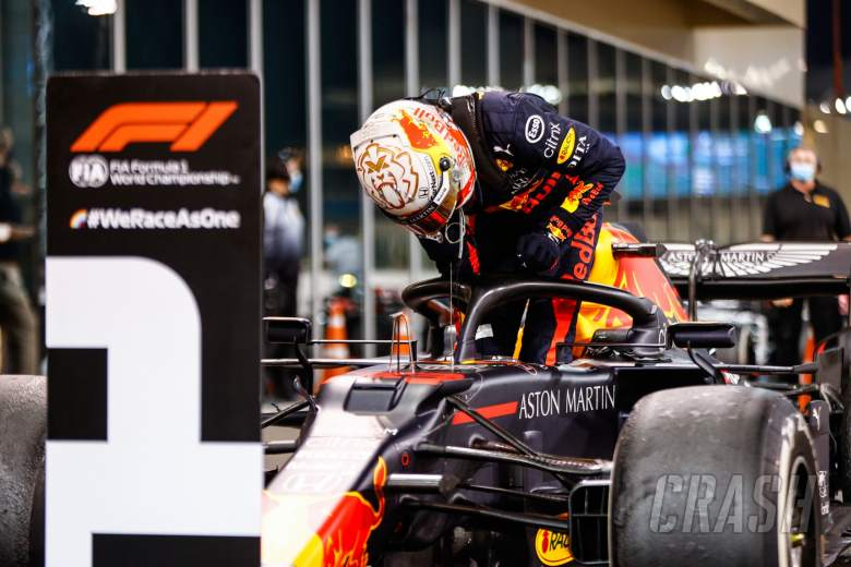 Race winner Max Verstappen (NLD) Red Bull Racing RB16 in parc ferme.