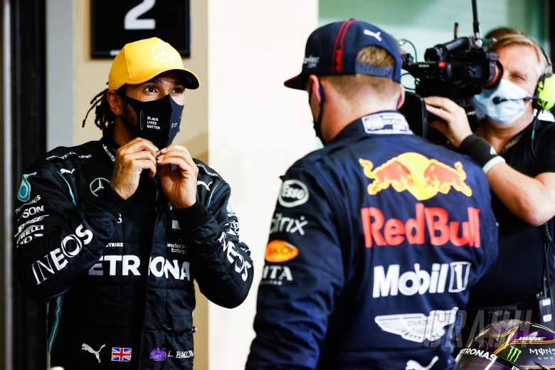 (L to R): Lewis Hamilton (GBR) Mercedes AMG F1 with race winner Max Verstappen (NLD) Red Bull Racing in parc ferme.