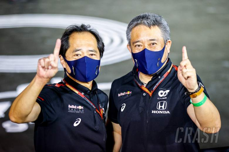 (L to R): Toyoharu Tanabe (JPN) Honda Racing F1 Technical Director and Masashi Yamamoto (JPN) Honda Racing F1 Managing Director celebrate victory for Max Verstappen (NLD) Red Bull Racing.
