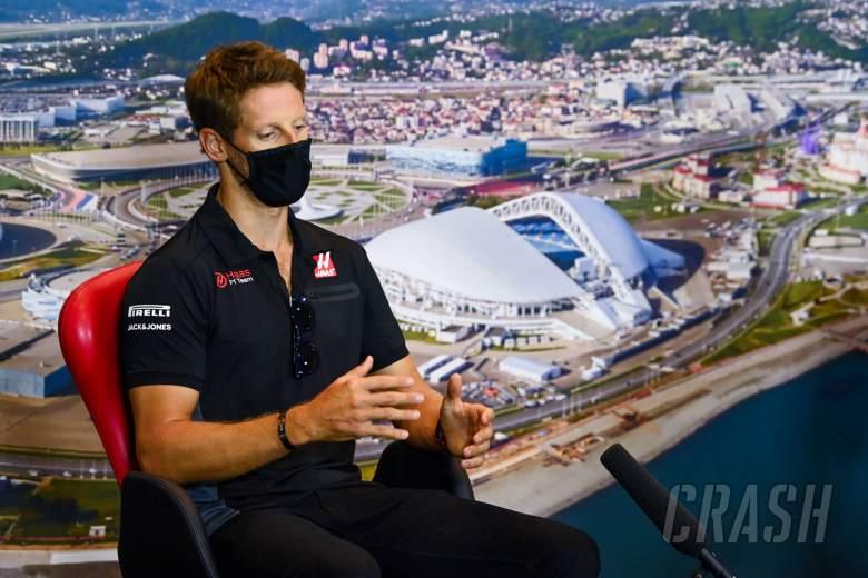 Romain Grosjean (FRA) Haas F1 Team in the FIA Press Conference.