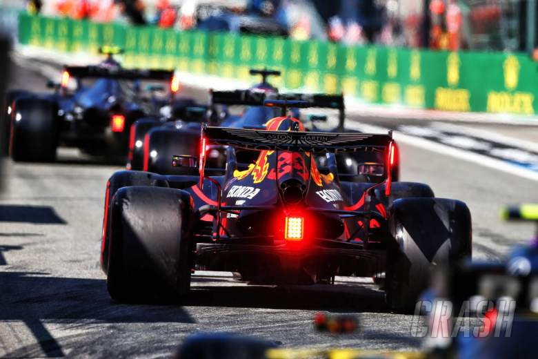 Max Verstappen (NLD) Red Bull Racing RB16 leaves the pits.