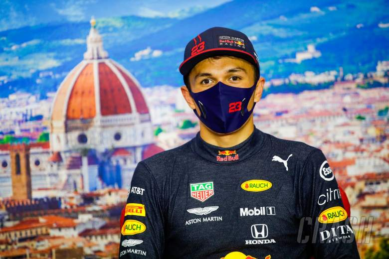 Alexander Albon (THA) Red Bull Racing in the post race FIA Press Conference.