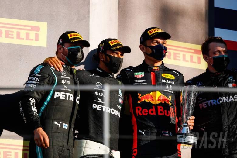 The podium (L to R): Valtteri Bottas (FIN) Mercedes AMG F1, second; Lewis Hamilton (GBR) Mercedes AMG F1, race winner; Alexander Albon (THA) Red Bull Racing, third.