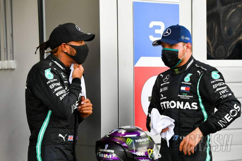 (L to R): Lewis Hamilton (GBR) Mercedes AMG F1 in qualifying parc ferme with team mate Valtteri Bottas (FIN) Mercedes AMG F1.