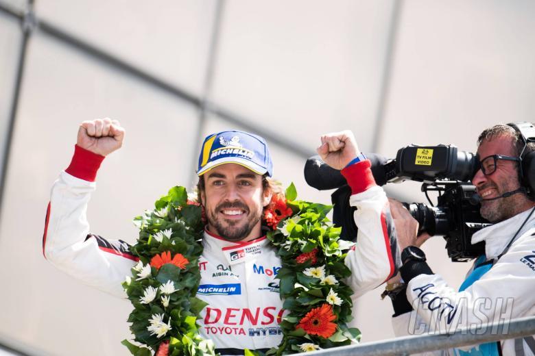 Race winner Fernando Alonso (ESP) Toyota Gazoo Racing celebrates on the podium. 16-17.06.2018.