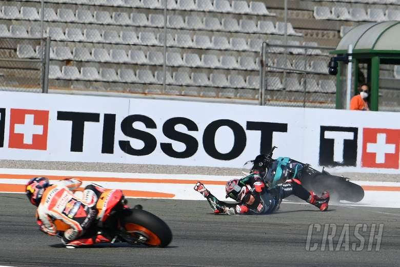 Fabio Quartararo crash, Valencia MotoGP race, 15 November 2020