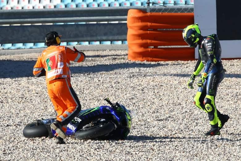 Rossi after crash, Portuguese MotoGP. 20 November 2020