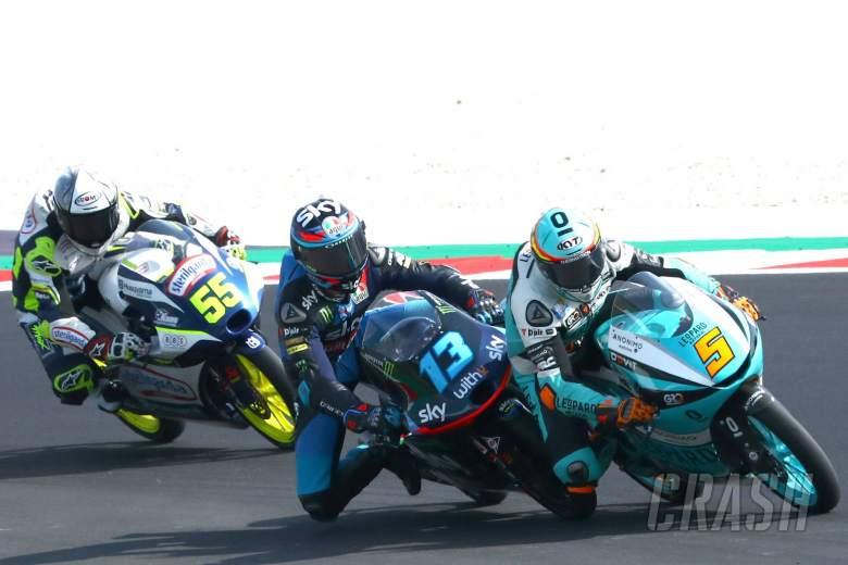 Celestino Vietti Jaume Masia, Romano Fenati , Moto3 race, Emilia Romagna MotoGP. 20 September 2020