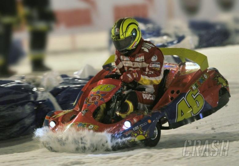 Rossi races on ice, Alonso wins