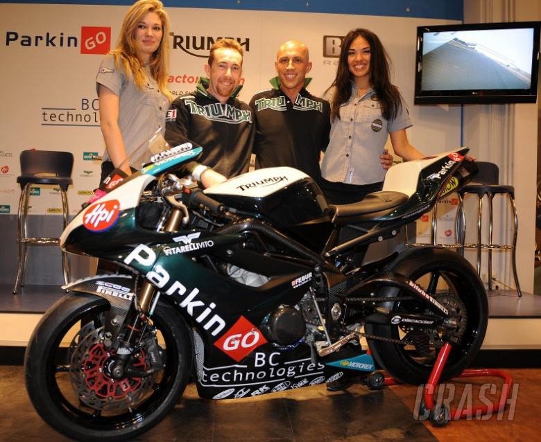 Garry McCoy and Gianluca Nannelli launch Triumph BE1's 2009 WSS campaign.