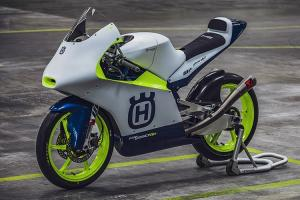 The 2020 Husqvarna Moto3 machine