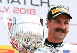 Brookes celebrates Brands Hatch double with moustache shave