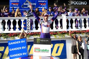Denny Hamlin defeats Erik Jones in Pocono overtime