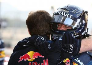 16.10.2011- Race, Sebastian Vettel (GER), Red Bull Racing, RB7 race winner and Christian Horner (GBR