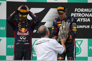 24.03.2013- Race, the podium; winner Sebastian Vettel (GER) Red Bull Racing RB9, 2nd Mark Webber (AU
