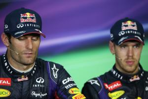 24.03.2013- Race, press conference; Mark Webber (AUS) Red Bull Racing RB9 and Sebastian Vettel (GER