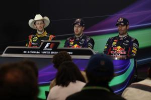 17.11.2013- Race, Press conference, Romain Grosjean (FRA) Lotus F1 Team E21, Sebastian Vettel (GER)