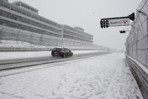 Safty car on snow bound track, Brands Hatch, Raceday