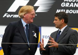 Ron Walker and Steve Bracks on the podium at the 2004 Australian Grand Prix