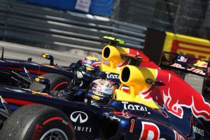 29.05.2011- Race, Sebastian Vettel (GER), Red Bull Racing, RB7 race winner and Mark Webber (AUS), Re