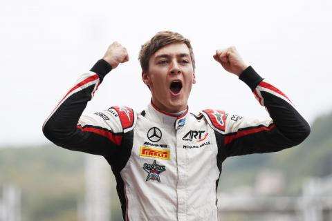 Russell on brink of F2 title after victory in rain-hit race