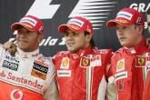 Lewis Hamilton (GBR) McLaren MP4-23, Felipe Massa (BRA) Ferrari F2008, Kimi Raikkonen (FIN) Ferrari