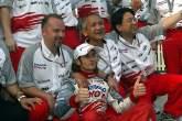 Jarno Trulli celebrates his second place in the Malaysian Grand Prix