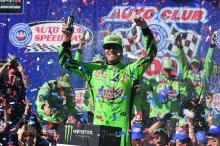 Kyle Busch overcomes speeding penalty to claim landmark win