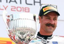 Brookes celebrates Brands Hatch double with moustache shave