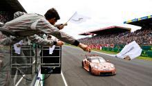 Porsche celebrates 'pink pig' Le Mans victory