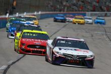 Fuel only stop vaults Denny Hamlin to win in Texas Stage 2