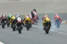 Gibernau flips at start of first corner crash, Catalunya MotoGP Race 2006