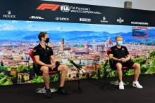 (L to R): Romain Grosjean (FRA) Haas F1 Team and Kevin Magnussen (DEN) Haas F1 Team in the FIA Press Conference.