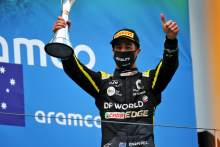 Daniel Ricciardo (AUS) Renault F1 Team celebrates his third position on the podium.