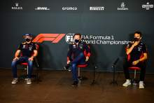 (L to R): Max Verstappen (NLD) Red Bull Racing; Christian Horner (GBR) Red Bull Racing Team Principal; and Alexander Albon (THA) Red Bull Racing, in the FIA Press Conference.