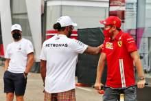 (L to R): Valtteri Bottas (FIN) Mercedes AMG F1; Lewis Hamilton (GBR) Mercedes AMG F1; and Sebastian Vettel (GER) Ferrari.