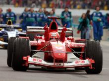 US GP 2003 - Schumacher left to make a point.