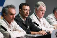 Uncini, Dr. Michele Macchiagodena and Butler at Simoncelli press conference, Malaysian MotoGP 2011