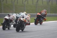Syahrin, Gino Rea and West chase De Angelis, Moto2 race, Japanese MotoGP 2012
