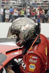 Martin Truex Jr prepares to qualify the #8 Budweiser Chevrolet for Dale Earnhardt Jr at New Hampshir
