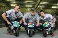 WCM`s Peter Clifford, Pavel Blata, James Ellison, Czech MotoGP, 2004