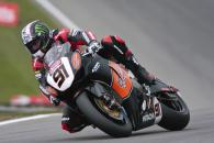 91, Leon Haslam, HM Plant Honda Racing, Druids bend, satrday qualifying.