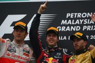 10.04.2011- Race, Sebastian Vettel (GER), Red Bull Racing, RB7 race winner, Jenson Button (GBR), McL