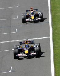 Christian Klien leads Red Bull team-mate David Coulthard
