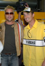 Brad Pitt and Edwards, U.S.MotoGP, 2005