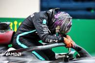 Race winner Lewis Hamilton (GBR) Mercedes AMG F1 W11 celebrates winning his seventh World Championship in parc ferme.
