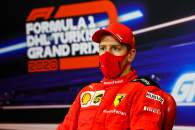 Sebastian Vettel (GER) Ferrari in the post race FIA Press Conference.