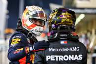 (L to R): Max Verstappen (NLD) Red Bull Racing celebrates his pole position in qualifying parc ferme with Lewis Hamilton (GBR) Mercedes AMG F1.
