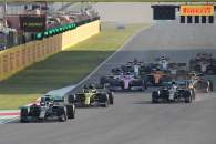 Lewis Hamilton (GBR) Mercedes AMG F1 W11 leads at the restart of the race.